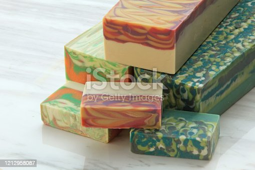 3 blocks of handcrafted soap on display