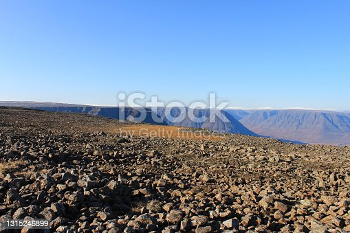 Blocks of stones on the plateau of the near-obryva.