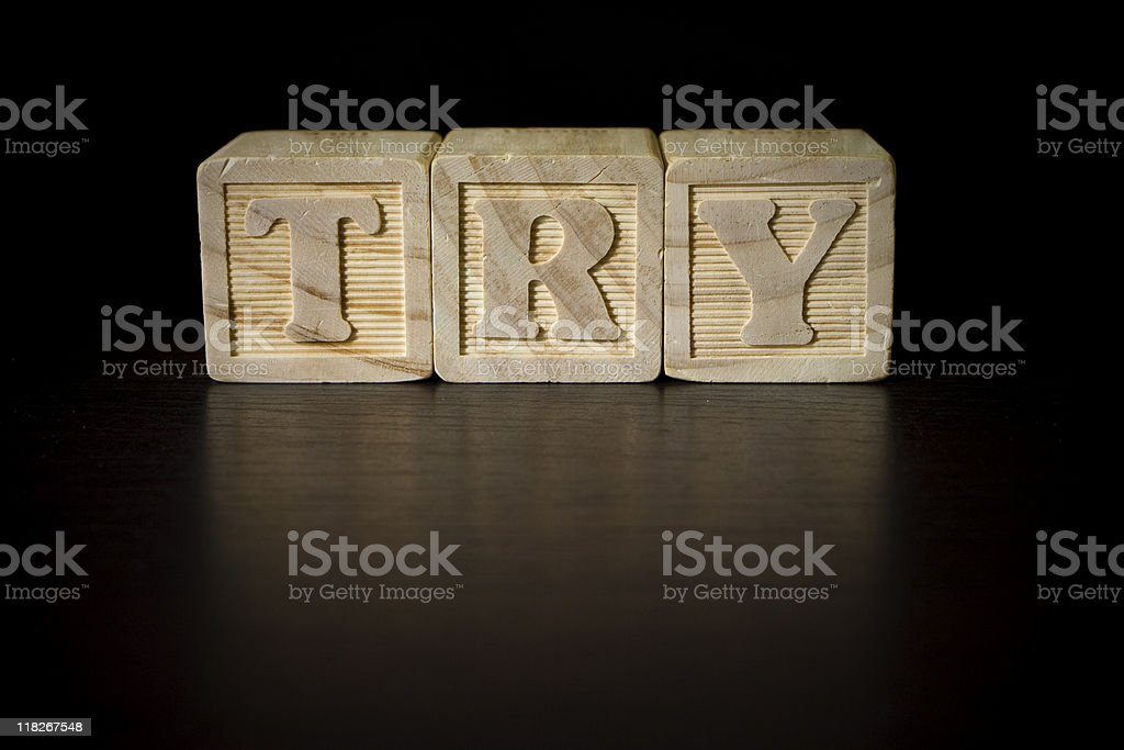 Blocks on black - 'TRY' royalty-free stock photo