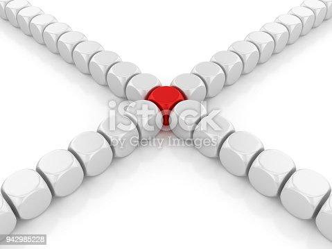 942703718 istock photo Blocks Pattern One Red - 3D Rendering 942985228