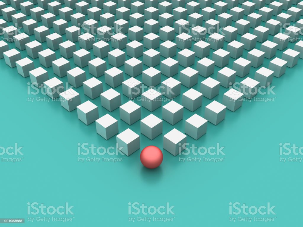 Blocks Pattern with One Red Sphere - 3D Rendering stock photo