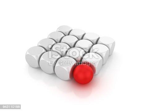 istock Blocks Pattern with Red Sphere - 3D Rendering 943110188