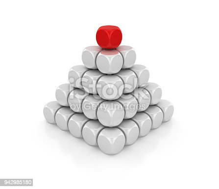 istock Blocks Pyramid One Red on Top - 3D Rendering 942985180