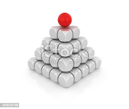 istock Blocks Pyramid with Red Sphere on Top - 3D Rendering 943026186