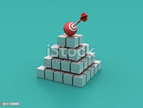 istock Blocks Pyramid with Target Sphere - 3D Rendering 924139888