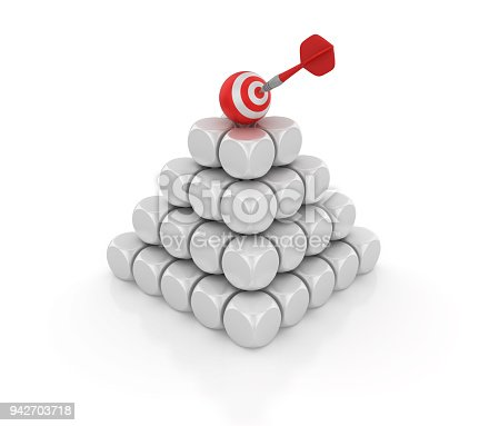 istock Blocks Pyramid with Target Sphere - 3D Rendering 942703718