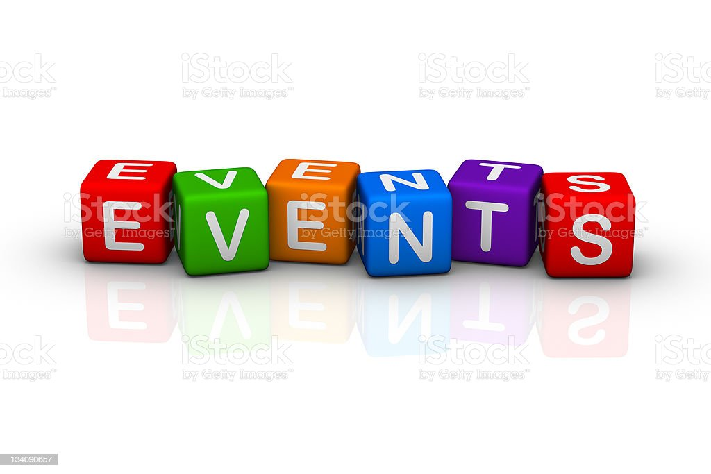 Blocks spelling events on a white background stock photo