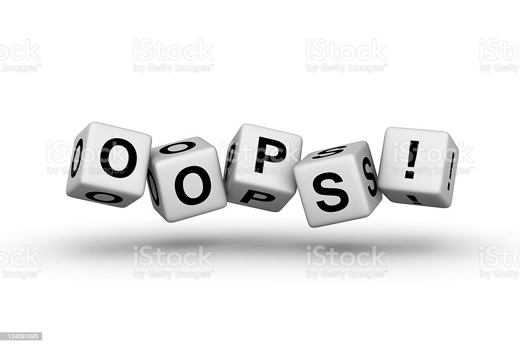 3D blocks spelling the word oops royalty-free stock photo