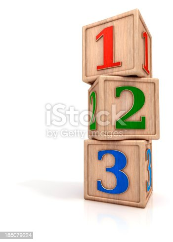 istock Blocks stack with numbers 1 2 3 185079224