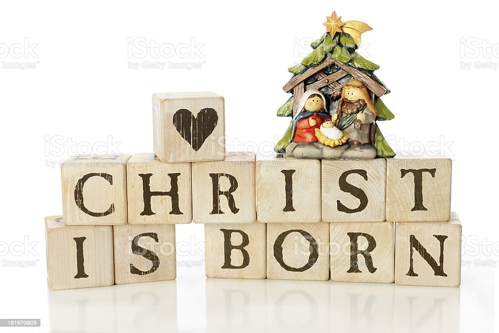 Blocks that read 'Christ is Born' stock photo