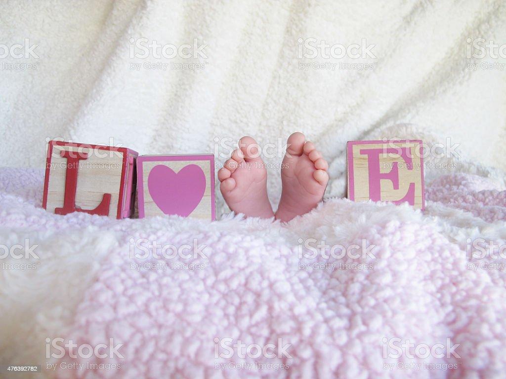LOVE bloques con bebé cuadrados - foto de stock