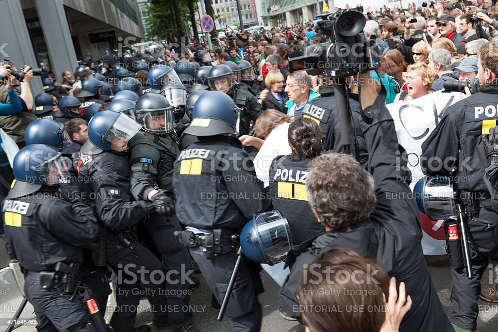 Blockupy 2013, Frankfurt royalty-free stock photo