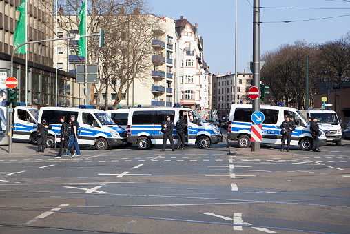 Frankfurt, Germany - March 18, 2015: Line-up of police vehicles at Blockupy 2015 demonstration during inauguration of European Central Bank in the city center of Frankfurt