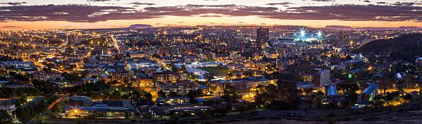 Bloemfontein evening cityscape stock photo