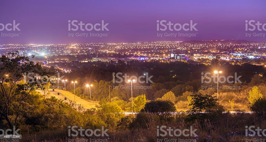 Bloemfontein evening skyline, South Africa stock photo