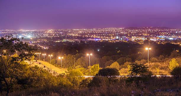 Bloemfontein evening skyline, South Africa stock photo