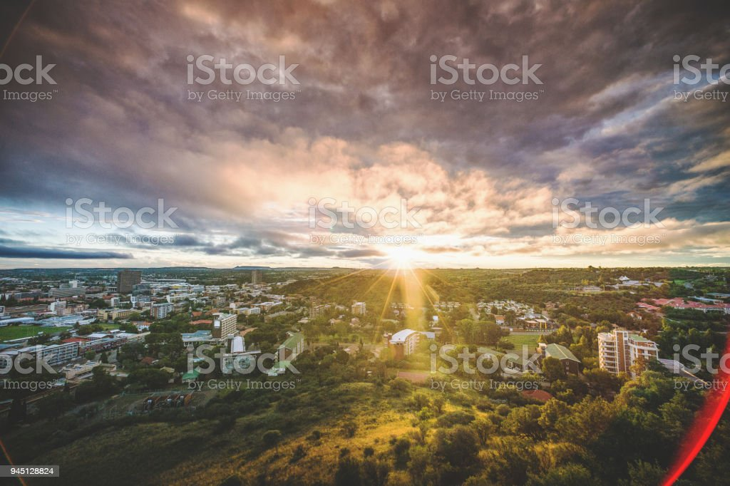 Bloemfontein view from Naval Hill at Sunset Lens flare stock photo