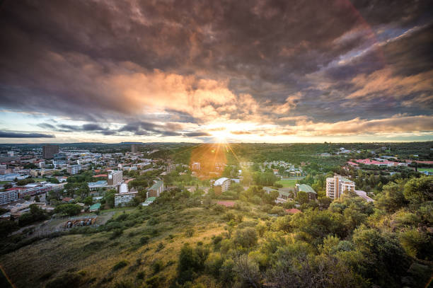 Bloemfontein view from Naval Hill at Sunset West Direction stock photo