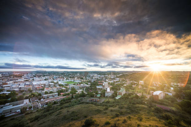 Bloemfontein view from Naval Hill at Sunset West stock photo