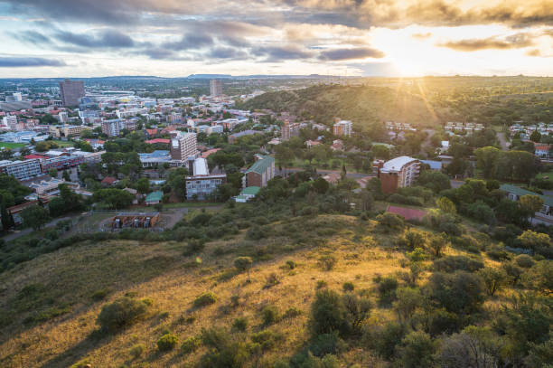 Bloemfontein view with Naval Hill at Sunset stock photo