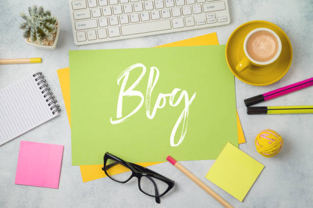 Blog and information website concept. Workplace  background with text. stock photo
