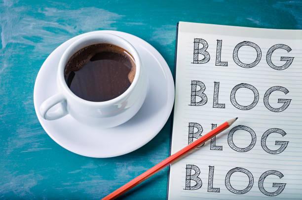 blog, blog, blog- blogging concept - www kaffee oder tee stock-fotos und bilder