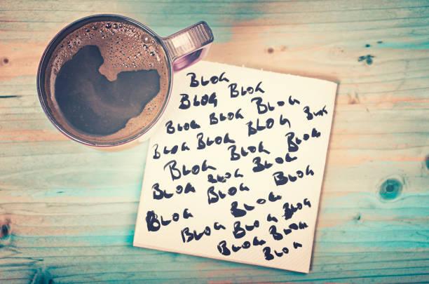 blog, blog, blog - bloggen-konzept - www kaffee oder tee stock-fotos und bilder