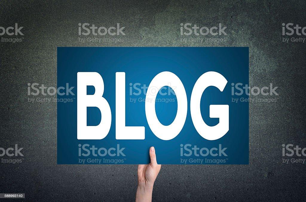 Blog card on dark background. Blogging concept. stock photo