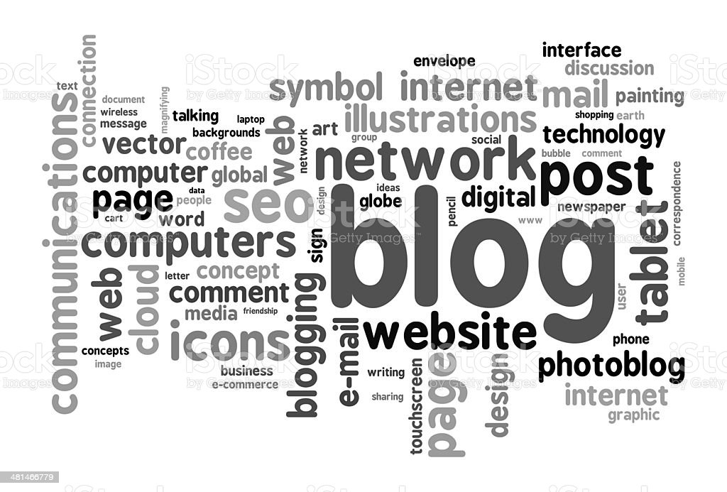 Blog concept word cloud stock photo