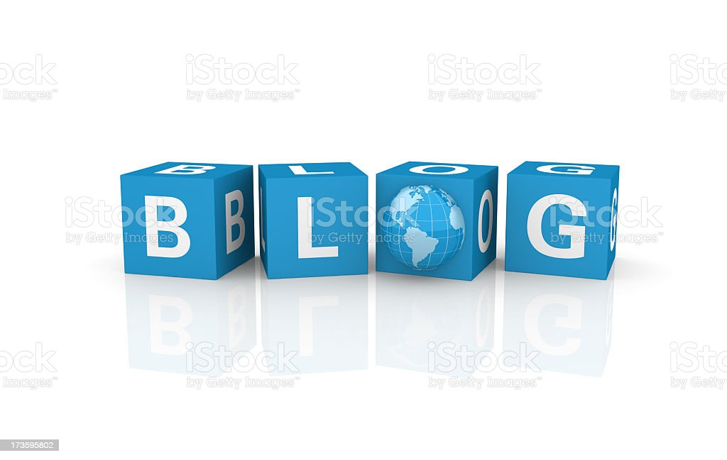 Blog Cubes with Earth Globe royalty-free stock photo