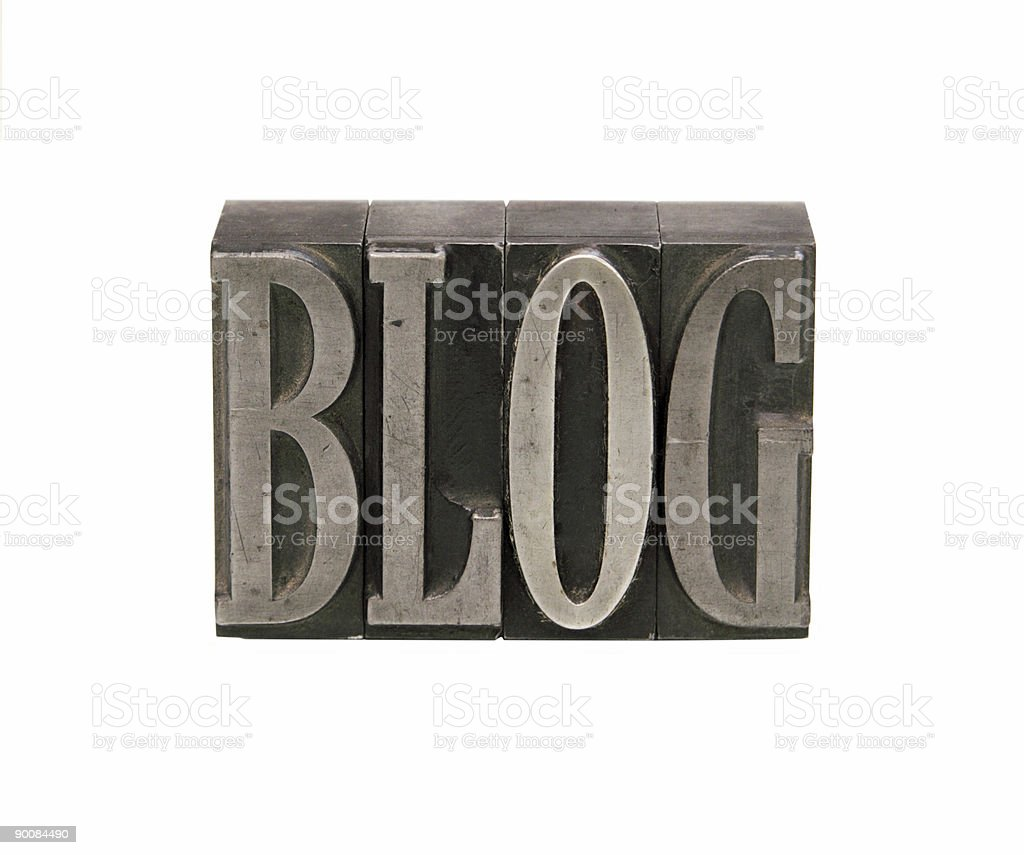 blog in metal letterpress type royalty-free stock photo
