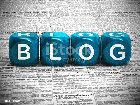 Blog or blogging website icon showing online journals and writing. Weblog journalism for information and help - 3d illustration