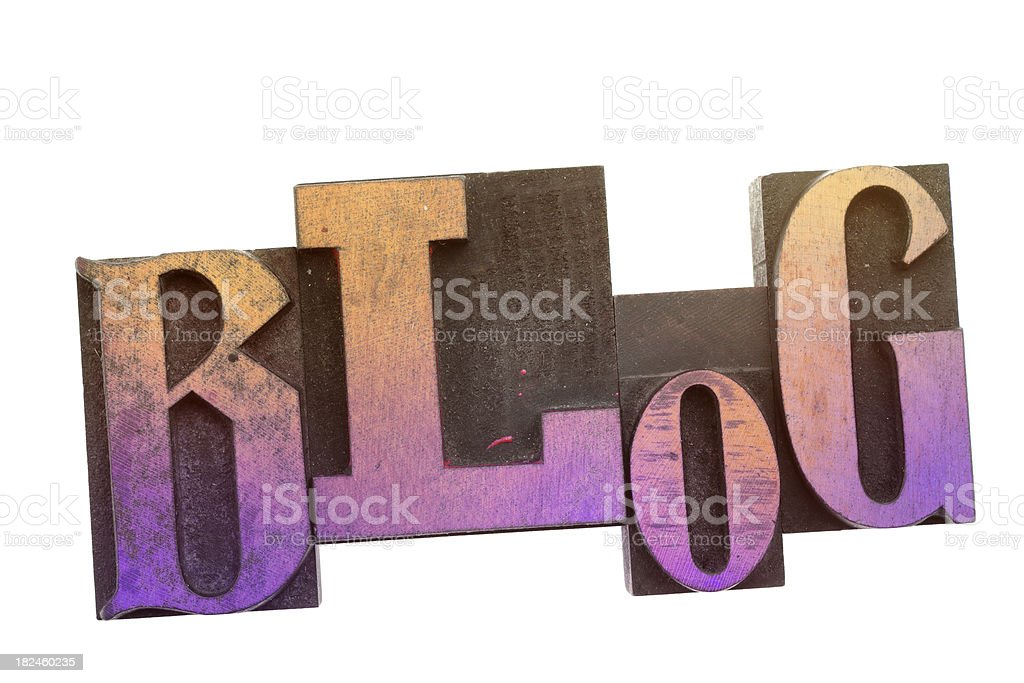 Blog - Vintage Wood Letterpress. royalty-free stock photo