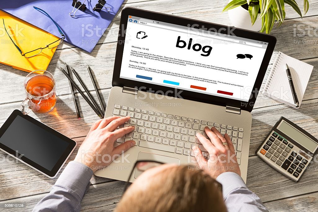 Blog Weblog Media Digital Dictionary Online Concept stock photo