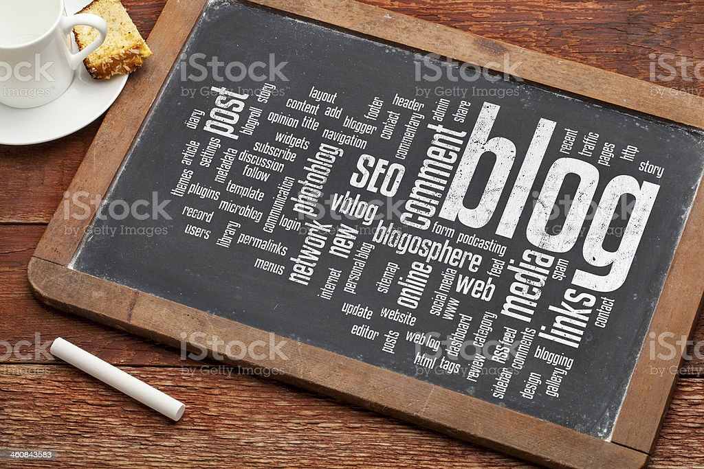 blog word cloud on blackboard stock photo
