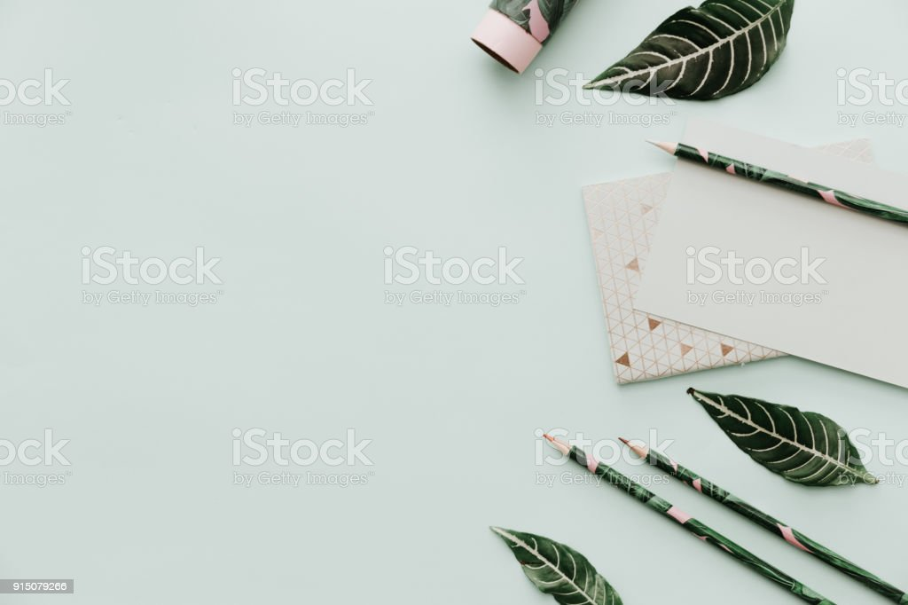 Blogger Pastel Background With green leaves and empty blank. Mockup for your work stock photo