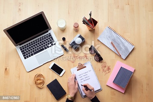 istock Blogger table directly above 846742862