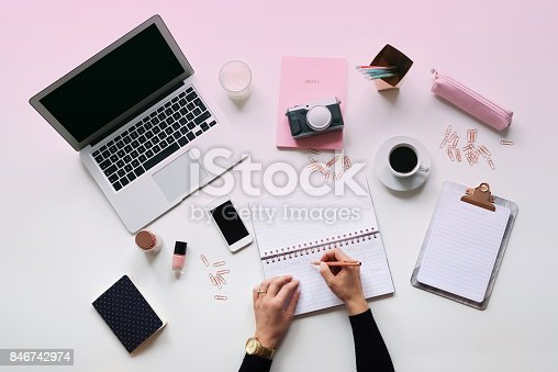 istock Blogger table directly above 846742974
