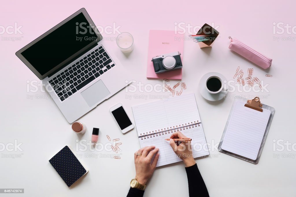 Blogger table directly above stock photo