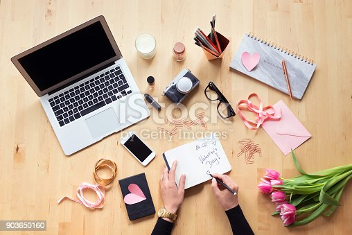 istock Blogger table directly above 903650160