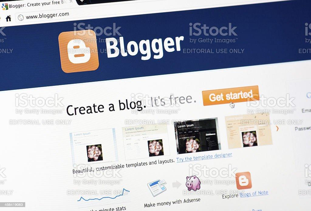 Blogger.com Homepage on Google Chrome Browser stock photo