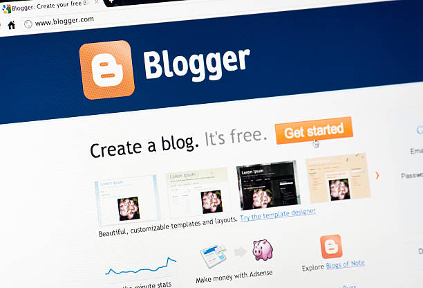 Bloggercom Homepage On Google Chrome Browser Stock Photo & More