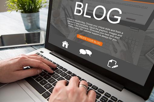Blogging Blog Word Coder Coding Using Laptop Stock Photo - Download Image Now