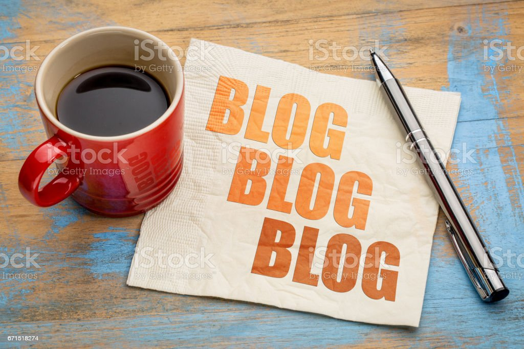 blogging concept on a napkin - foto de stock