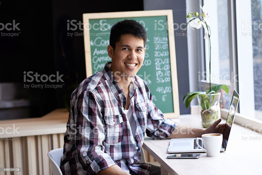 Blogging over some brew royalty-free stock photo