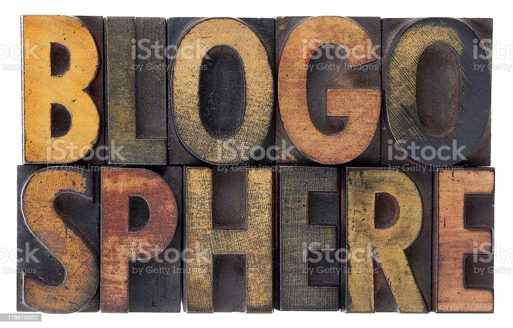 blogosphere - vintage wood letterpress types royalty-free stock photo