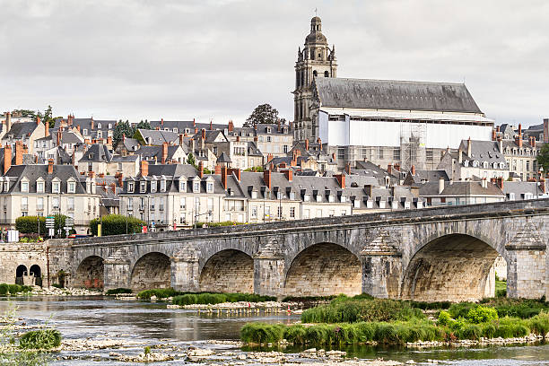 Blois - view from Loire River - France stock photo