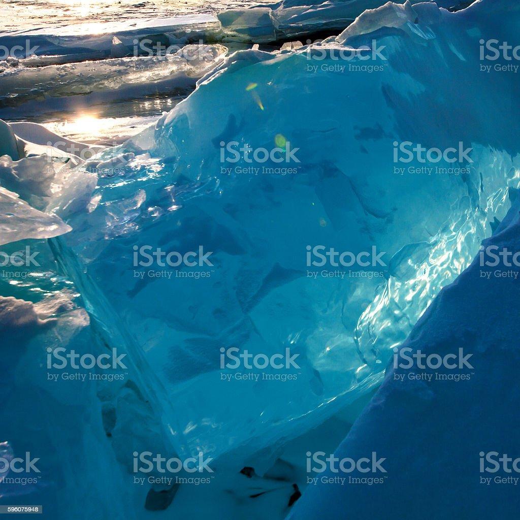 Bloks of ice on Baikal lake royalty-free stock photo