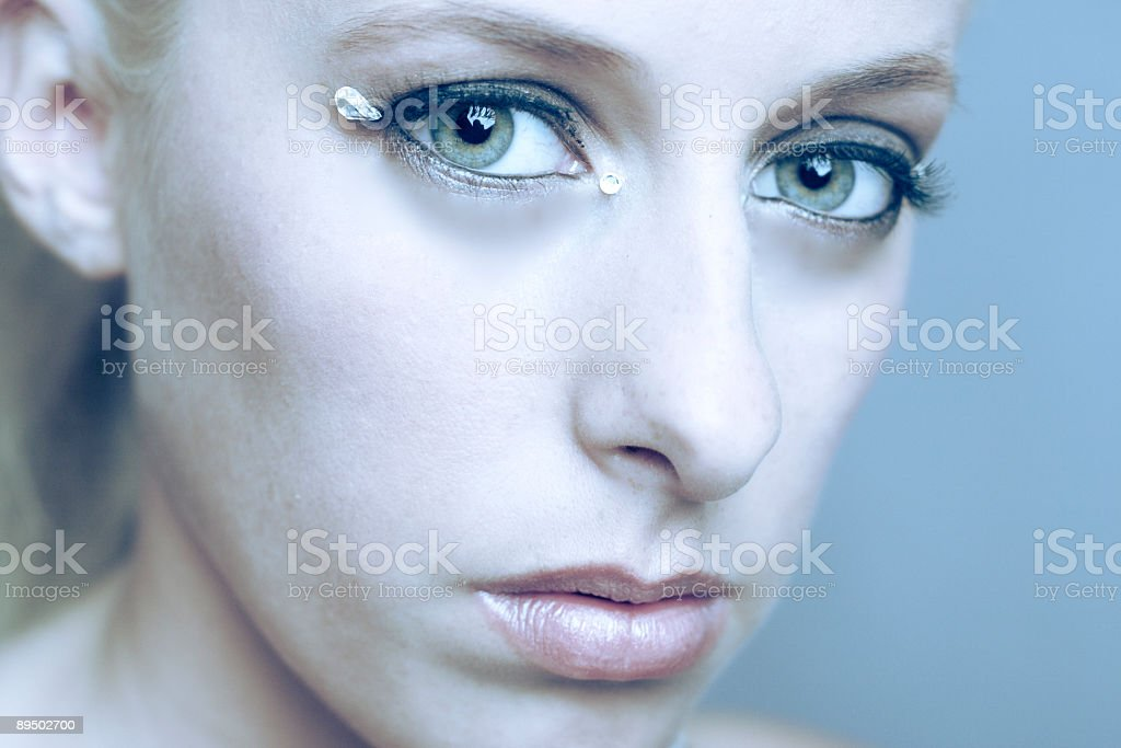 Blond and green royalty-free stock photo