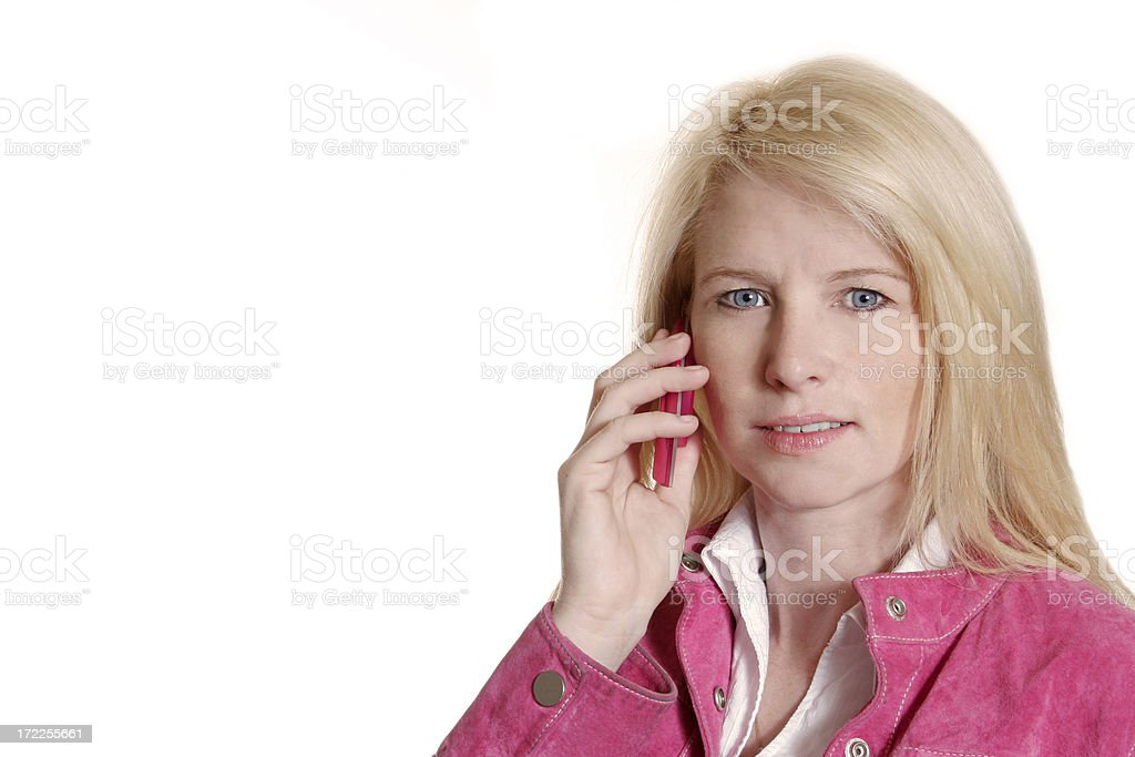 Blond and her Cellphone stock photo